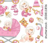 seamless pattern from cute baby ... | Shutterstock .eps vector #203811856