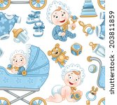 seamless pattern from cute baby ... | Shutterstock .eps vector #203811859