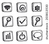 cartoon sketched web icons set  ...