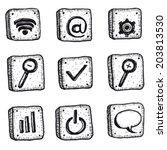 cartoon sketched web icons set  ...