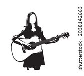 woman plays guitar  isolated... | Shutterstock .eps vector #2038142663