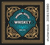 whiskey label with old frames   Shutterstock .eps vector #2038150880