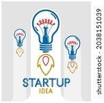 three idea light bulbs... | Shutterstock .eps vector #2038151039