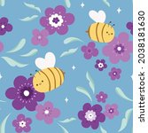 vector seamless pattern of cute ... | Shutterstock .eps vector #2038181630