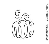 pumpkin drawing continuous line ... | Shutterstock .eps vector #2038187093