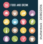 16 food and drink flat icons... | Shutterstock .eps vector #203822056