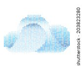 Abstract blue cloud made of binary code. Cloud computing - stock vector
