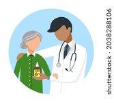 the doctor offers an elderly... | Shutterstock .eps vector #2038288106