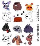 vector set of funny cartoon... | Shutterstock .eps vector #203831749