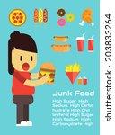 junk foods vector cartoon... | Shutterstock .eps vector #203833264