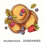 hand drawn pancakes with fruit...   Shutterstock .eps vector #2038344083