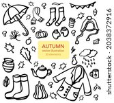 hand drawn autumn set with... | Shutterstock .eps vector #2038372916