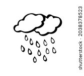 hand drawn line clouds and rain ... | Shutterstock .eps vector #2038378523