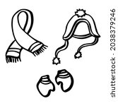 hand drawn line scarf  hat ... | Shutterstock .eps vector #2038379246