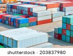 industrial port with containers | Shutterstock . vector #203837980