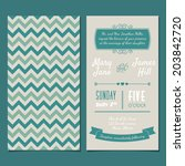 vector vintage invitation card... | Shutterstock .eps vector #203842720