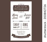 vector vintage invitation card... | Shutterstock .eps vector #203842726