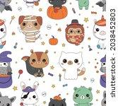 halloween seamless pattern with ... | Shutterstock .eps vector #2038452803