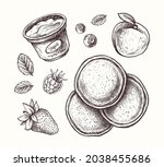 hand drawn pancakes with fruit...   Shutterstock .eps vector #2038455686