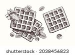 hand drawn waffles with fruit...   Shutterstock .eps vector #2038456823