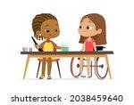 two diverse schoolgirl in... | Shutterstock .eps vector #2038459640