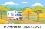 old camping car for travelling. ... | Shutterstock .eps vector #2038461926