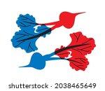 vegetables flat abstract vector.... | Shutterstock .eps vector #2038465649