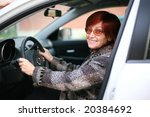a smiling woman sitting in the... | Shutterstock . vector #20384692