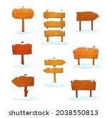 winter wooden signs  cartoon...