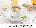 lemon ginger tea | Shutterstock . vector #203856100