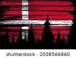 denmark  flag painted with... | Shutterstock .eps vector #2038566860