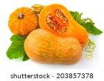 Cut Pumpkin With Pumpkin Seeds...