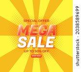mega sale banner template for... | Shutterstock .eps vector #2038589699