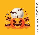 halloween pumpkins bat's under... | Shutterstock .eps vector #2038597133