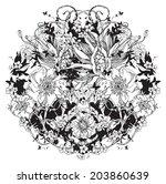 vector abstract flowers in... | Shutterstock .eps vector #203860639