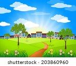 sun sunny showing green grass... | Shutterstock . vector #203860960