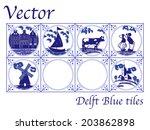 vector delft blue dutch tiles...