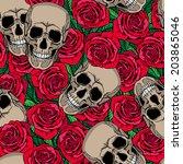 seamless pattern with skulls... | Shutterstock . vector #203865046
