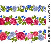 seamless floral rim with large... | Shutterstock .eps vector #2038698050