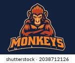 vector of monkey mascot esport... | Shutterstock .eps vector #2038712126