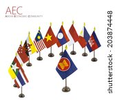 Small photo of The national flags for the AEC countries surround the AEC flag