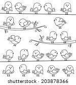 vector set of line art cartoon... | Shutterstock .eps vector #203878366