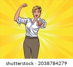 strong woman point finger at... | Shutterstock .eps vector #2038784279