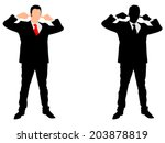 business man covering ears ... | Shutterstock .eps vector #203878819