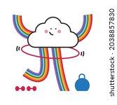cute lgbtq cloud character... | Shutterstock .eps vector #2038857830
