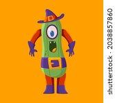 funny halloween cucumber vector ... | Shutterstock .eps vector #2038857860