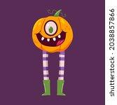 cute halloween pumpkin with... | Shutterstock .eps vector #2038857866