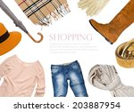 collage of clothing in warm... | Shutterstock . vector #203887954