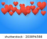 background beautiful red hearts ... | Shutterstock .eps vector #203896588