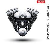 Retro Motorcycle Engine. Vector ...
